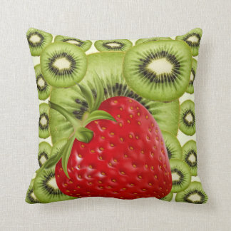 RED STRAWBERRY GREEN KIWI FRUIT PATTERN ART CUSHION