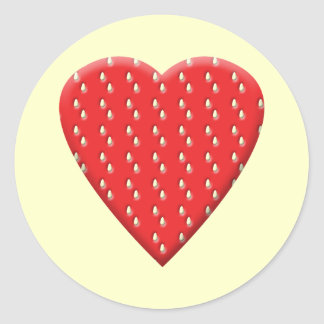 Red Strawberry Heart. Round Sticker