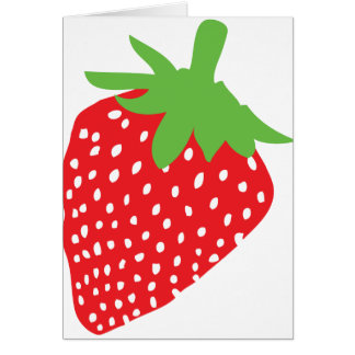 red strawberry icon greeting card