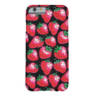 Red Strawberry on black background Barely There iPhone 6 Case