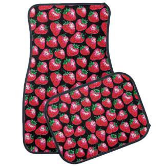 Red strawberry on  black background car mat