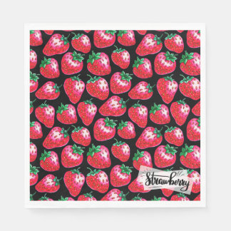 Red strawberry on  black background disposable napkins