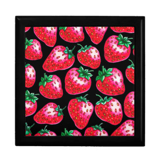 Red Strawberry on black background Gift Box