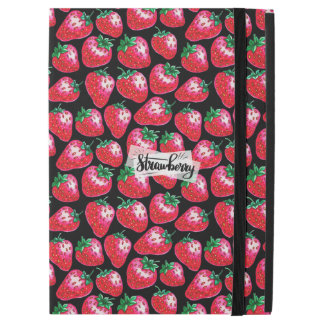 "Red strawberry on  black background iPad pro 12.9"" case"
