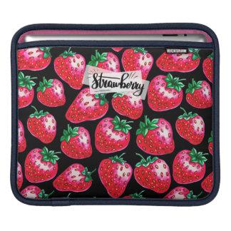 Red Strawberry on black background iPad Sleeve