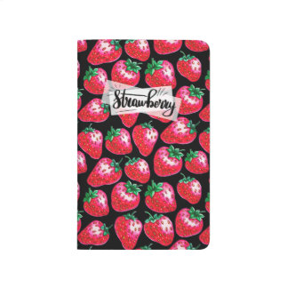 Red strawberry on  black background journal