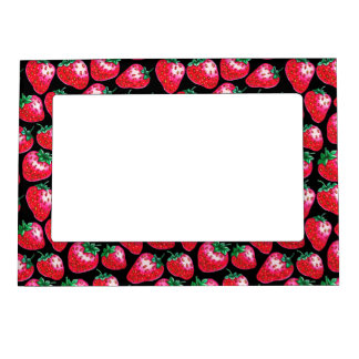 Red Strawberry on black background Magnetic Frame