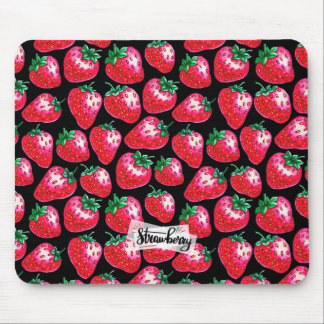 Red strawberry on  black background mouse pad