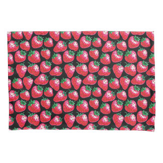 Red strawberry on  black background pillowcase