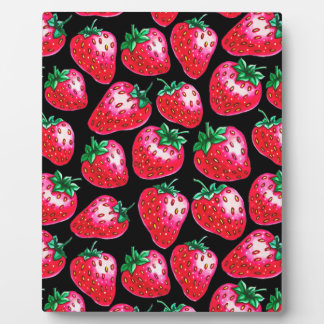 Red Strawberry on black background Plaque