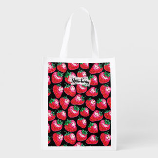 Red strawberry on  black background reusable grocery bag