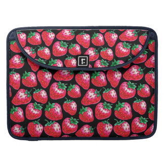 Red strawberry on  black background sleeve for MacBook pro