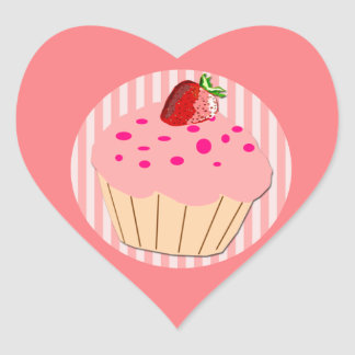 Red Strawberry on Pink Cupcake Heart Sticker