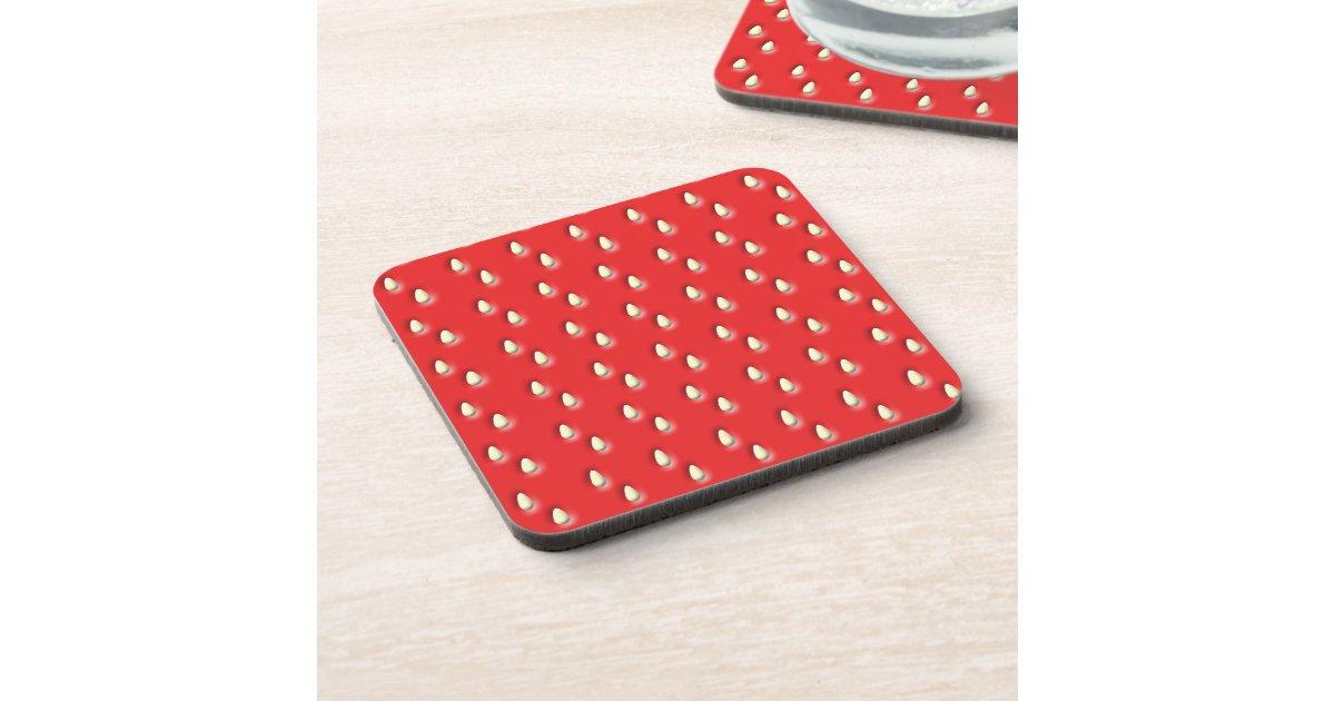 Red Strawberry Pattern Coasters Zazzle