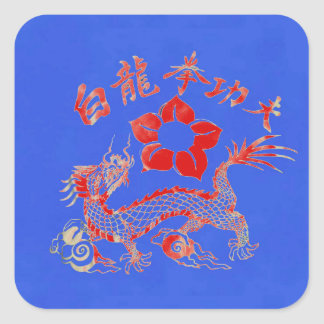 RED STREAKED DRAGON SQUARE STICKER