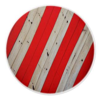 Red  Stripe and Wood Design Ceramic Knob