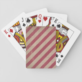 red stripe holiday candy cane burlap playing cards