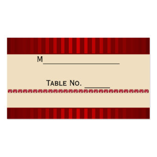 Red Stripe Ivory Band with Row Rubies Place Card Pack Of Standard Business Cards