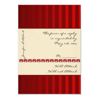 Red Stripe Ivory Band with Rubies Response Card 9 Cm X 13 Cm Invitation Card