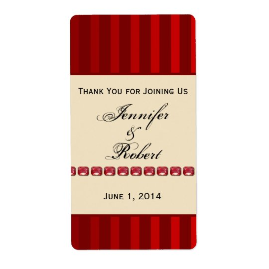 Red Stripe Ivory Band with Rubies Wine Label Shipping Label