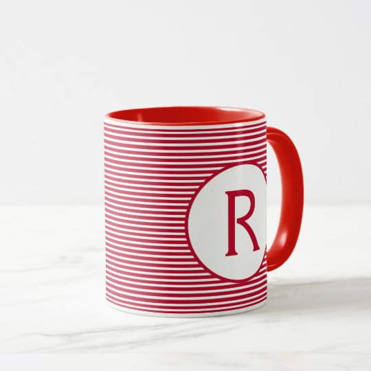 Red Stripe Monogram Mug