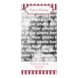 Red stripe vertical Christmas holiday greeting Photo Card
