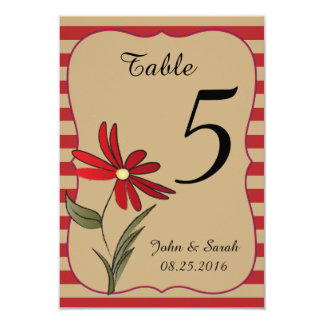 Red Striped Flowered Collection 9 Cm X 13 Cm Invitation Card