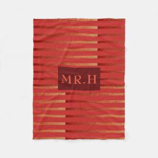 Red Striped Geometric Fleece Blanket