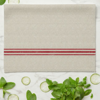 Red Striped Grain Sack Inspired Tea Towel