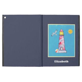 """Red Striped Watercolor Lighthouse Custom iPad Pro 12.9"""" Case"""