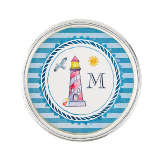 Red Striped Watercolor Lighthouse Lapel Pin