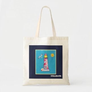 Red Striped Watercolor Lighthouse Personalized Tote Bag