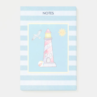 Red Striped Watercolor Lighthouse Post-it Notes