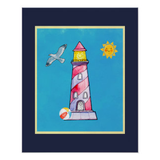 Red Striped Watercolor Lighthouse Poster