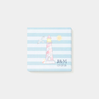 Red Striped Watercolor Lighthouse Wedding Post-it Notes