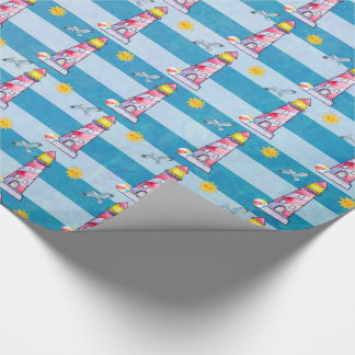 Red Striped Watercolor Lighthouse Wrapping Paper