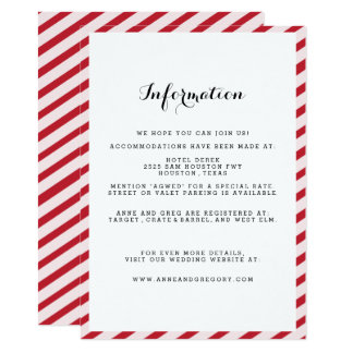 Red Striped Wedding Information Insert Card