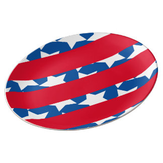 Red Stripes American Flag Porcelain Plate