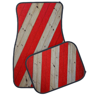 Red Stripes and Wood Design Set of 4 Car Mats Car Mat