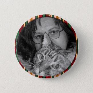 red stripes frame 6 cm round badge