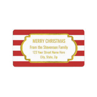 Red Stripes Gold Merry Christmas Label