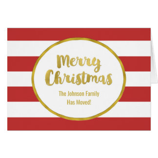 Red Stripes Gold Merry Christmas New Address Card