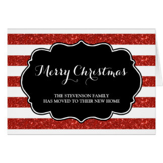 Red Stripes Merry Christmas New Address Card