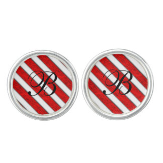 Red Stripes Pattern Cuff Links