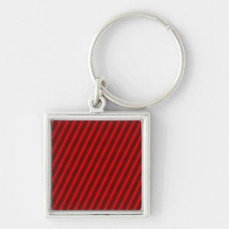 Red Stripes Pattern Silver-Colored Square Key Ring