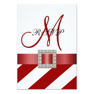 Red Stripes, Ribbon, Initial Wedding RSVP 9 Cm X 13 Cm Invitation Card