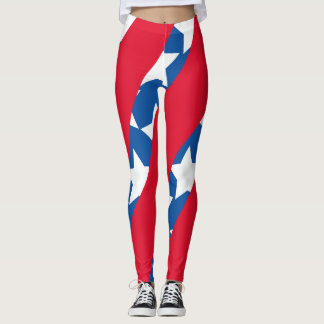 Red Stripes with Blue American Flag Leggings