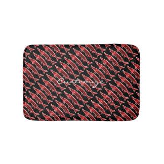 red sturgeon pattern black bath mats