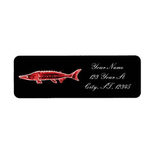 red sturgeon swimming Thunder_Cove Return Address Label
