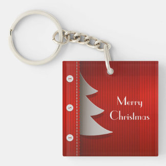 Red Stylish Merry Christmas design Key Chain